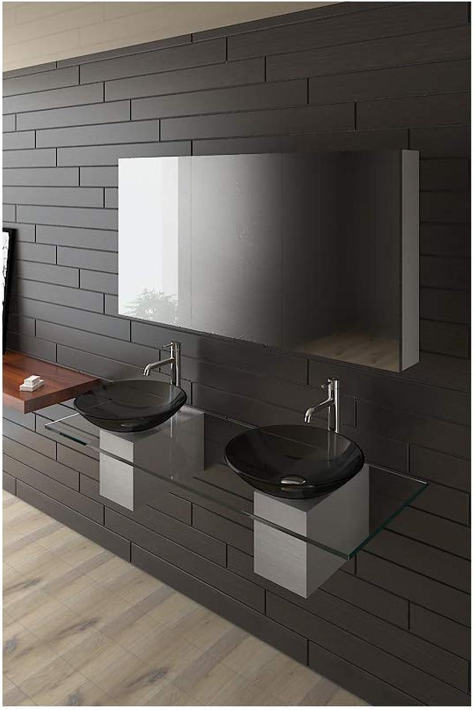 2 Schwarze Glaswaschschalen  42 cm mit Klarglas Waschtischplatte 140 cm Alpenberger