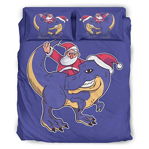 Ftcbrgifk Juego de sábanas de 4 piezas, diseño de dinosaurio de Papá Noel de Navidad, resistente al desgaste, juego de cama para dormitorio de tu familia, color blanco 228 x 228 cm