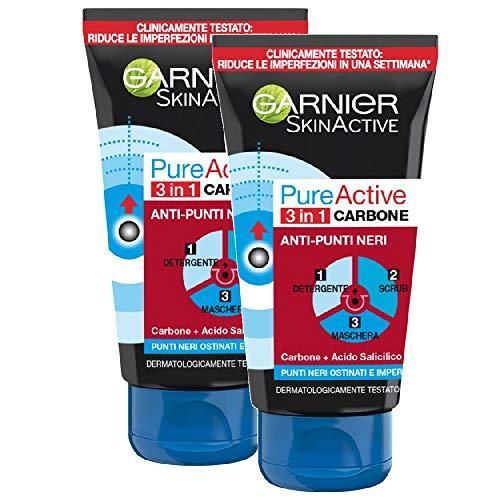 Garnier SkinActive, Trattamento anti punti neri 3 in 1 Carbone PureActive, Pelli grasse e punti neri ostinati, Confezione da 2