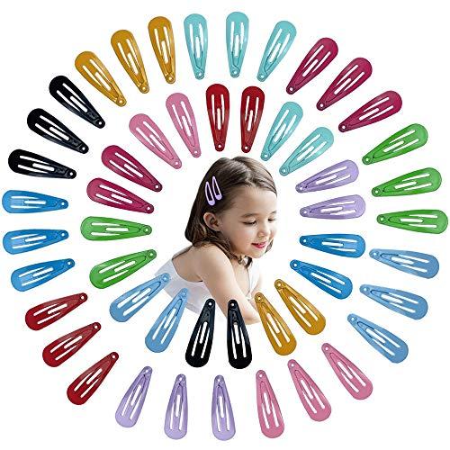 50 Stück 10 Farben 3cm Snap Haarspangen Bunte Metall Haarspangen Tropfenform Bonbon Farbe Haarnadeln,Für Kinder Mädchen Frauen Haarschmuck