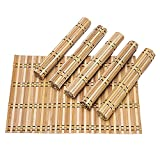 Byoeko Set di 6 tovagliette all'americana rettangolari in bambù (45 x 30 cm) (Bambu Modello 8)