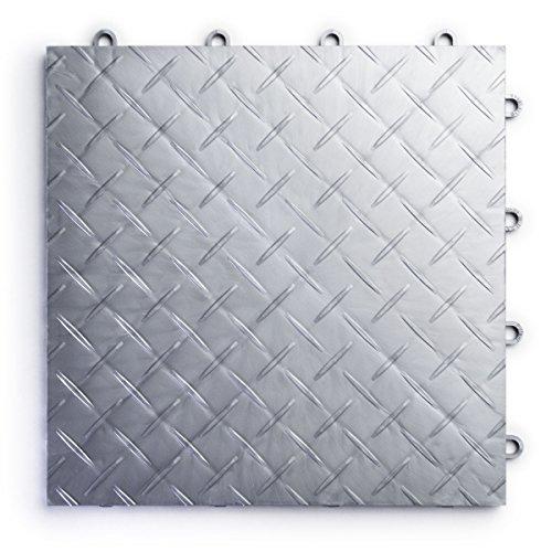 RaceDeck Diamond Plate Design, Durable Interlocking Modular Garage Flooring Tile (24 Piece), Alloy