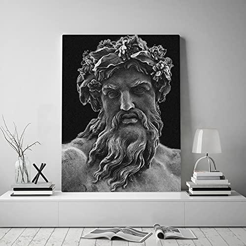 "KMMK Canvas Pictures Greek Mythology Zeus Sculpture Wall Art Artwork Painting Prints Posters Office Living Room Home Decor 23.6""x35.4""(60x90cm) Frameless"