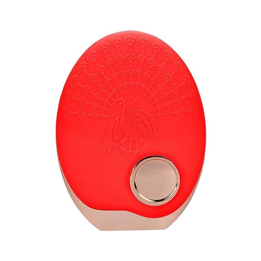 ハイジャック泣いている疑いSOUTHTECH 光子活性化クレンジング器具 顔の清潔になるブラシ、3色LEDの光子ライトが付いている超音波無線充満表面剥離のブラシのシリコーンの防水マッサージャー (赤)