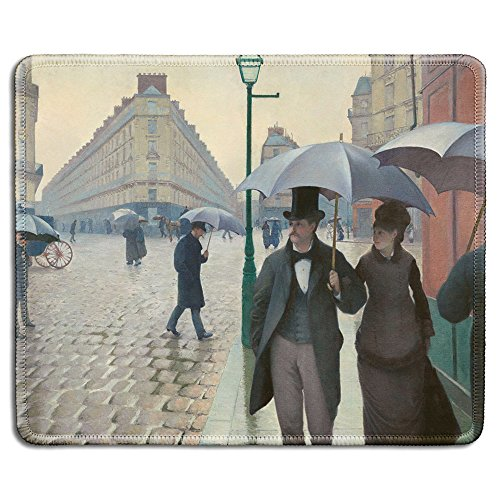 dealzEpic - Art Mousepad - Natural Rubber Mouse Pad with Famous Fine Art Painting of Paris Street Rainy Day by Gustave Caillebotte - Stitched Edges - 9.5x7.9 inches