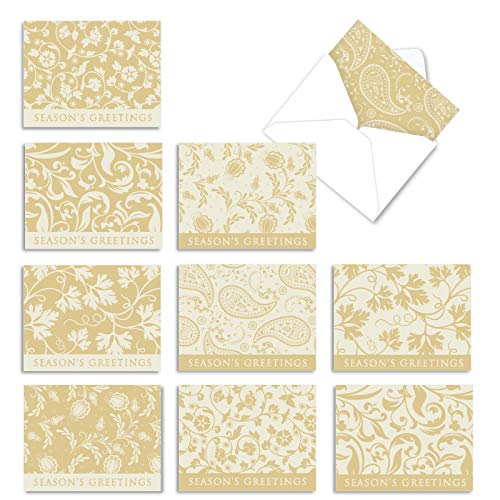 The Best Card Company - 10 Merry Christmas Cards Bulk - Festive Holiday Patterns, Boxed Card Assortment (4 x 5.12 Inch) - Holiday Vines M10015XS