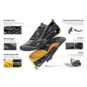 TSLA Men's Trail Running Shoes, Lightweight Athletic Zero Drop Barefoot Shoes, Non Slip Outdoor Walking Minimalist Shoes, Barefoot Shoes Black & Grey, 10.5