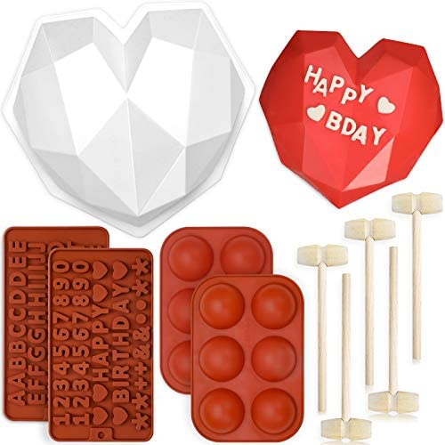 Breakable Heart Mold Set of 10 Heart Silicone Molds for Chocolate with Hammers Number and Letter product image