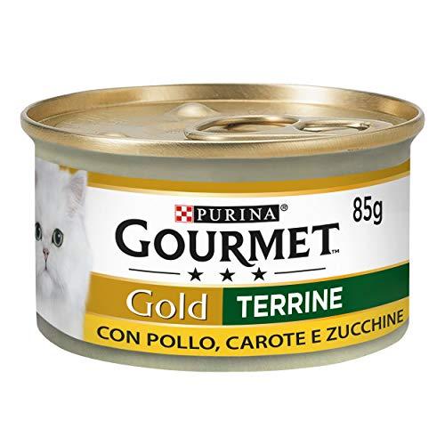 PURINA GOURMET GOLD Umido Gatto Patè con Verdure, con Pollo, Carote e Zucchine - 24 lattine da 85g ciascuna (confezione da 24x85g)