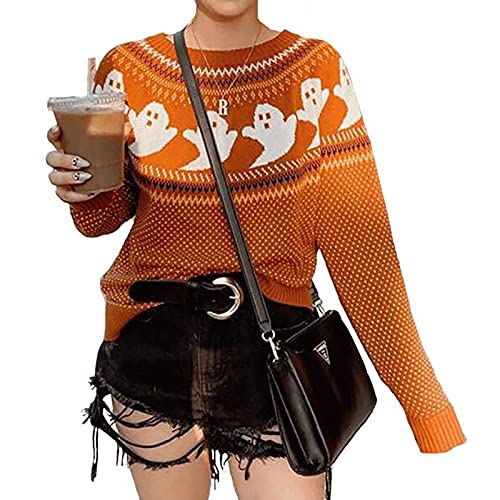 YEMOCILE Knitted Sweater for Women with Cute Ghost Pattern Gothic Streetwear with Long Sleeves for Girls Orange