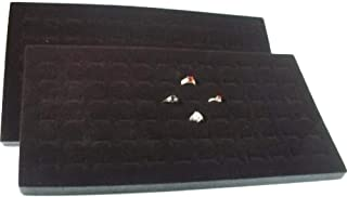 888 Display USA 2 Pieces 72 Slot Black Jewelry Travel Ring Inserts Display Pads (Black, 2)