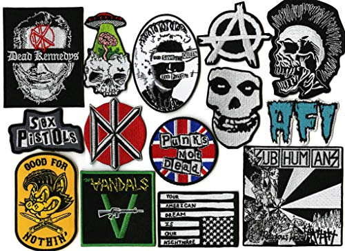 14pc Punks Not Dead Patch Set   Dead Kennedys   Misfits   The Vandals   Anarchy   AFI   SUBHUMANZ   Metal Skull   Small Embroidered Band Patches - by Nixon Thread Co.