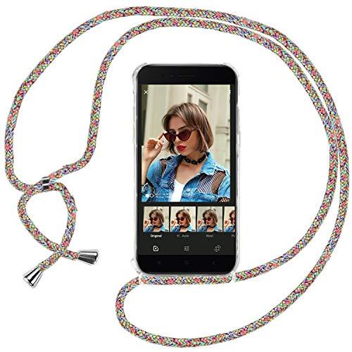 Ingen Funda con Cuerda para Xiaomi Mi A1 - Carcasa Transparente TPU Suave Silicona Case con Colgante(Vistoso)