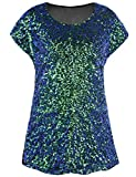 PrettyGuide Women's Sparkly Shirt Glitter Sequined Dolman Loose Tunic Blouse Top Symphony L/US14-16