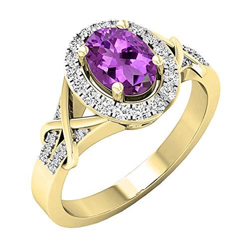 DazzlingRock Collection Amatista de oro de 10 quilates y amatista talla redonda y aro de novia con forma de anillo de halo 7.5