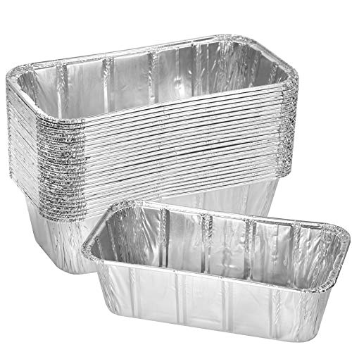 Thick Aluminum Loaf Pans 30 Pack 8 x 4 Inches | 2 Lb Mini Baking Pans for Bread Lasagna Meatloaf Cake | Heavy Duty Disposable Oven Bake Tin for Cooking amp Food Storage