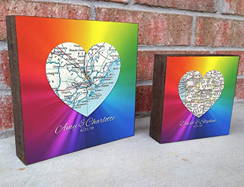 LGBT Pro Gay and Lesbian Pride Customized and Personalized Wedding Vintage Heart Map Rainbow Art Print on a Wooden Block- Anniversary- Christmas Gift for Gay Couple