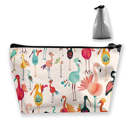 Flamingo et Turquie Trapèze Sac de rangement cosmétique de voyage