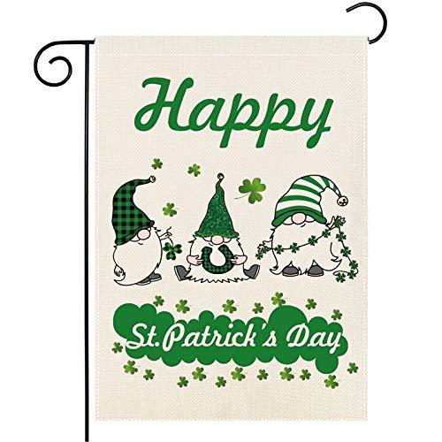 Iceyyyy Zwerg St. Patrick's Day Gartenflagge – doppelseitig für den Außenbereich, Rasen, Hof und Heimdekoration, Zwerge, Hufeisen, Bier, Kleeblatt, Hof, Außendekoration (grüner Zwerg)