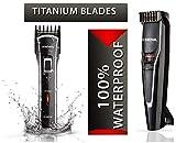 Nova NHT 1091 20 Length Settings Trimmer for Men (Black) & Nova NHT - 1020 100% Waterproof Rechargeable Cordless Beard Trimmer for Men (Black)