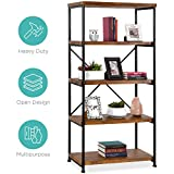 5-Tier Rustic Industrial Bookshelf Display Decor Accent w/Metal Frame, Wood Shelves - Brown