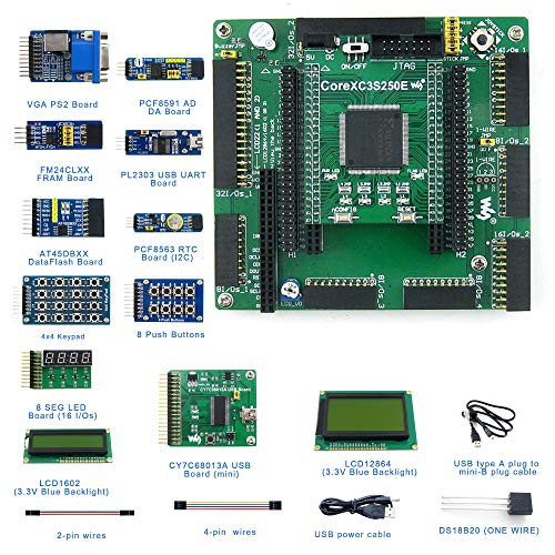 Designed for XILINX Spartan-3E Series, Features The XC3S250E MCU, DVK601 FPGA CPLD Core Board, Includes XILINX 3S250E Development Board+VGA PS2 Board+PL2303 Driver+AT45DBXX Board+FRAM Board, etc.