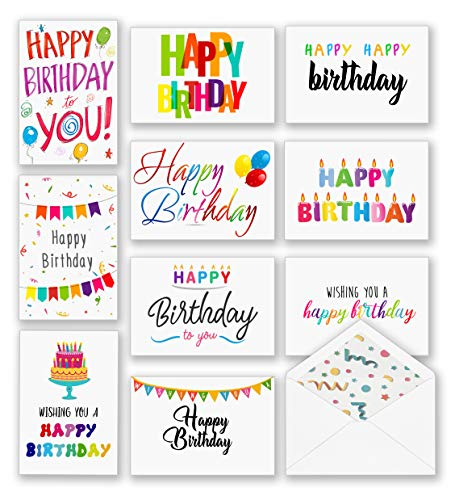 100 Happy Birthday Cards, Large Assorted Greeting Notes with Envelopes and Stickers, 10 Unique Designs, 5x7 Inch, Thick Card Stock Bulk Box Set…