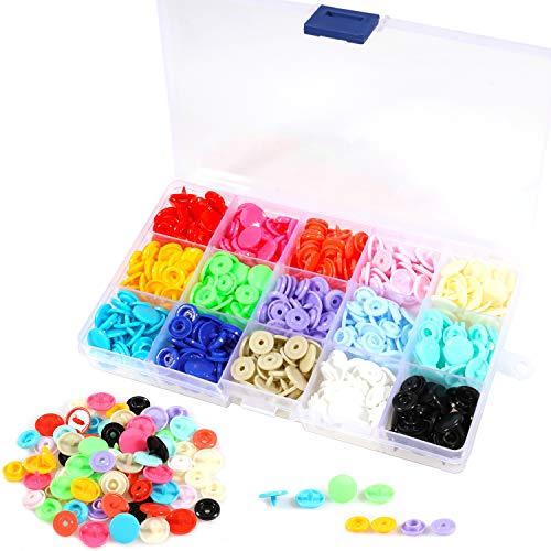 Snaps Plástico T5 Botones Redondos 15 Colores, 150 Set Resina Botón de presión 12mm, Corchetes de presion plastico para Manualidades Bricolaje Costuras con Caja de Almacenamiento