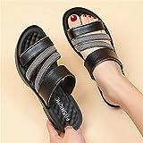 YYFF Zapatillas Flip Flops Sandal,Ropa Exterior con Pantuflas, Fondo Suave cómodo-Negro_41,Hombre Chanclas Suela