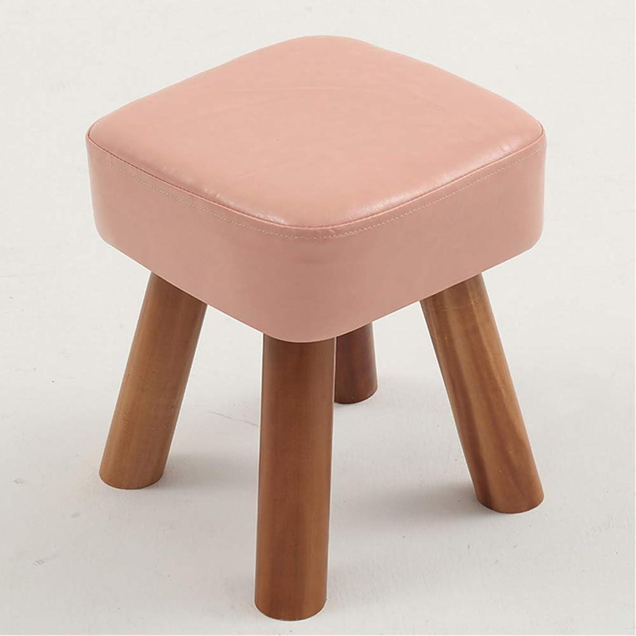 日付縞模様の願望スクエア 木製 張り スツール, 木製のサポート オスマン帝国 プーフ 椅子 便 4 脚 そして 取り外し可能なカバー-ピンク 28x28x32cm