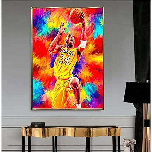 ZzSTX Póster Gran Jugador De Baloncesto Lienzo Póster Lienzo Pintura Pared Arte Impresiones Decoración del Hogar Mural50X70Cm Sin Marco
