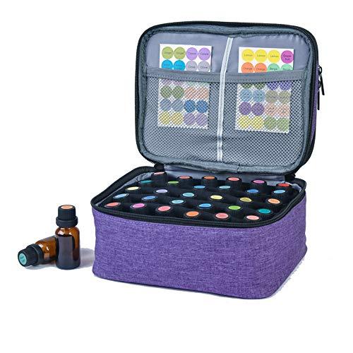 Horsande - Estuche de transporte para aceites esenciales, 30 botellas de viaje para aceites esenciales, organizador de doble capa para aceites y accesorios de aromaterapia, color morado