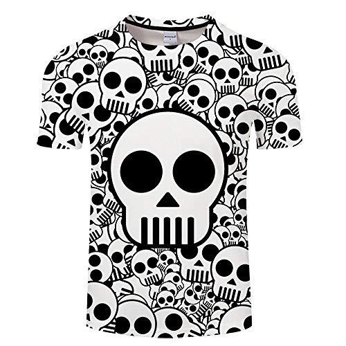 T-Shirt Crâne 3D Imprimer T-Shirt Hommes Femmes T-Shirt D'été Drôle À Manches Courtes O-Neck Tops & Tee Streetwear Noir Classique Asianxxl Tx147