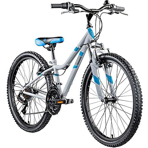 Galano GA20 Mountainbike 24 Zoll Jungen Mädchen Fahrrad für Jugendliche Jugendfahrrad MTB Hardtail Jugend Kinder Fahrrad ab 8 Jahre Mountain Bike 21 Gänge (grau/blau, 30 cm)