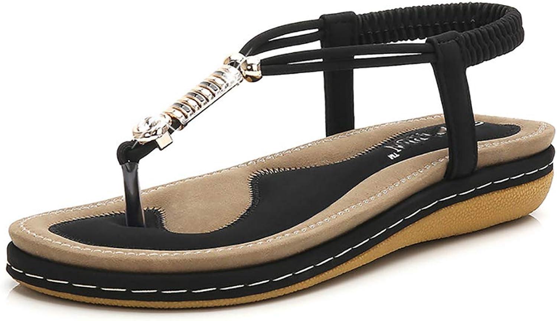 Mzq-yq Damen Flip Flops, Frauen Sommer Rom Sandalen Sandalen Sandalen Mode Zehe Flip Flop Niedrigen Ferse Schuhe Flachen Sandalen Strand Freizeitschuhe Thong Sandalen Hausschuhe  8bc7db