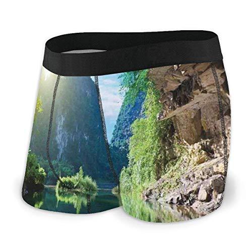 Web--ster Herren Boxer Slips, Blick auf den Berghimmel von der Grotte Viatnemese Tam COC Park Myst Natur Foto Größe XL