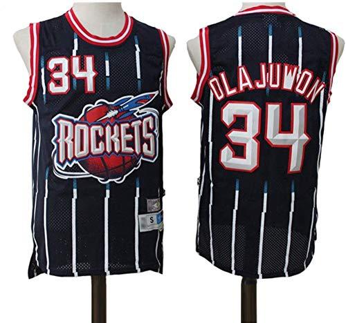 SHR-GCHAO Jersey De Baloncesto De Los Hombres, Retro Houston Rockets # 34 Hakeem Olajuwon, Malla Bordada NBA Basketball Jersey, 100% Poliéster,Negro,M(170~175cm)