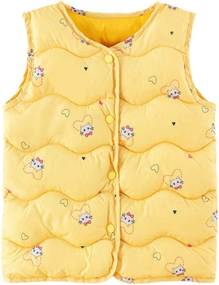 Mud Kingdom Little Girl Warm Lightweight Puffer Vest Cute Cartoon