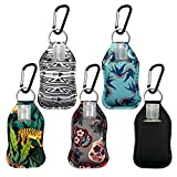 LANO DAVIS 5 Pack Fashion Neoprene Keychains with Empty 1oz 30ml Travel-Size Plastic Bottle Refillable Containers Holder for Hand Sanitizer, Lotion, Soap, Bulk Liquids