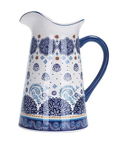 Bico Blue Talavera Ceramic 2.5 Quart Pitcher with Handle, Decorative Vase for Flower Arrangements, Dishwasher Safe