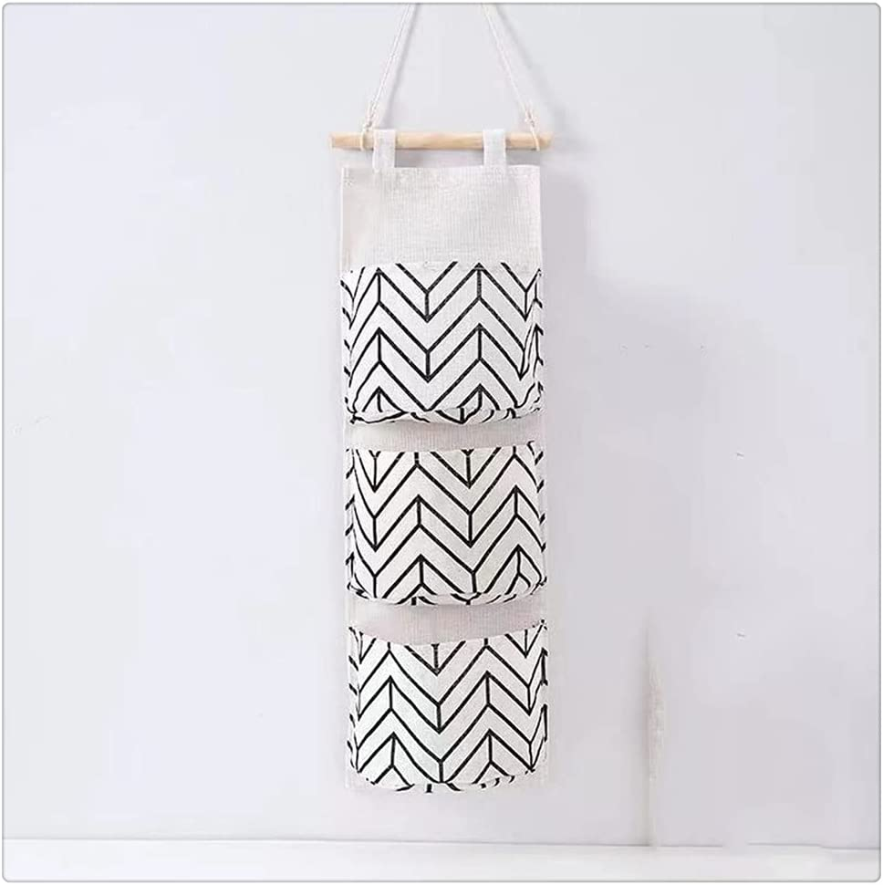 JEZZ Cotton Black White Pattern Raleigh Mall Bag Hanging Storage Linen Popular