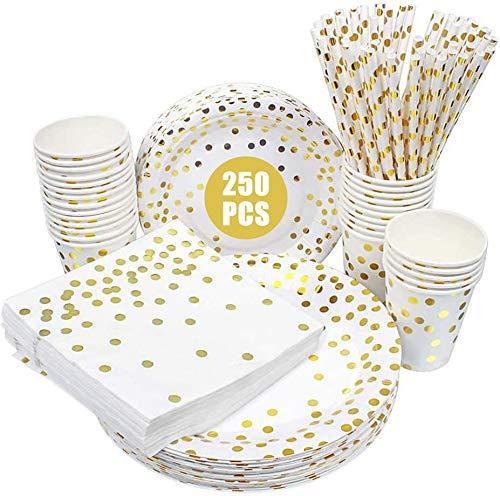 esafio 250-teiliges Partygeschirrset, Pappteller mit Goldenen Punkten, Pappbecher, Strohhalme, Einweg-Papiergeschirr für Kindergeburtstagsfeiern, Hochzeitsfeiern und Geburtstagsfeiern