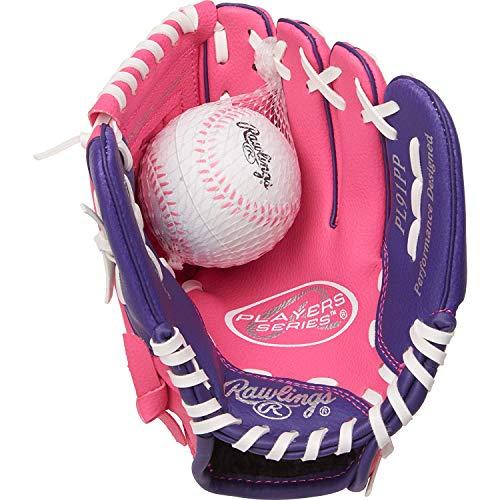 Rawlings Unisex-Erwachsene Baseball Gloves & Mitts Players PL91PP-12/0 Handschuh für Rechtshänder, 22,9 cm, Pink/Violett mit Ball, 9 inch