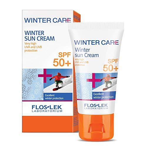 FLOSLEK Winter Sonnen-Creme LSF 50+ | 30 ml | Schutz gegen Sonne und Frost | Gesicht, Dekollete und Handpflege | Für Menschen jeden Alters | Ideal für Skiausflüge