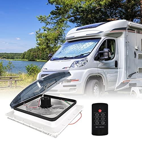 12V RV Dachventilator,HUKOER 40 * 40 CM automatischer Wohnmobilventilator mit Regensensor,Umkehrbare Windrichtung Dachfenster Vent Mit elektrischem Lift 3 Windgeschwindigkeiten Einstellbar