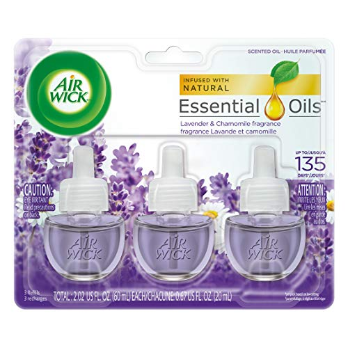 Air Wick plug in Scented Oil 3 Refills, Lavender & Chamomile, (3X0.67oz), Essential Oils, Air...