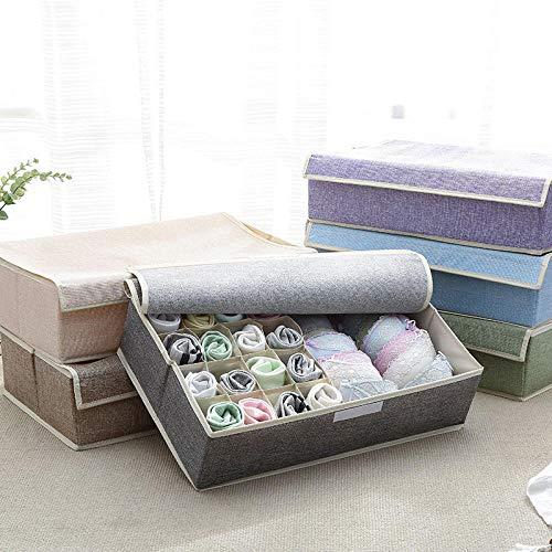 HUOTENG ladekasten, wasbare stoffen en plastic panelen opvouwbare kastjes opvouwbare ladeverdelers voor beha's, ondergoed, sokken, banden, sjaals en zakdoeken