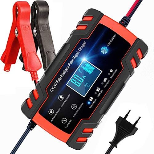 Review WXCC Battery Charger, 12V 8Amp / 24V Booster Car Maintainer 4AMP AVCE Intelligent LCD, Protec...