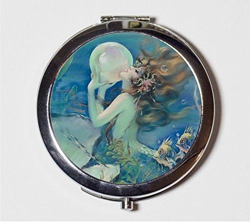 Mermaid Pearl Compact Mirror Edwardian Art Nouveau Siren Nautical Make Up Pocket Mirror for Cosmetics