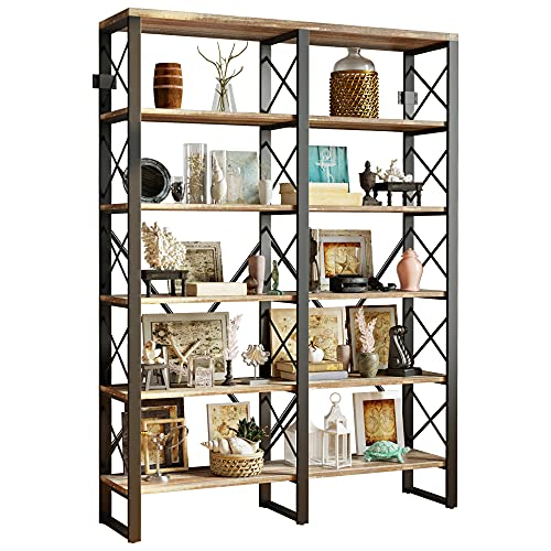 IRONCK Industrial Bookshelf Double Wide 6-Tier, Open Large Bookcase, Wood and Metal Bookshelves for Home Office, Easy Assembly